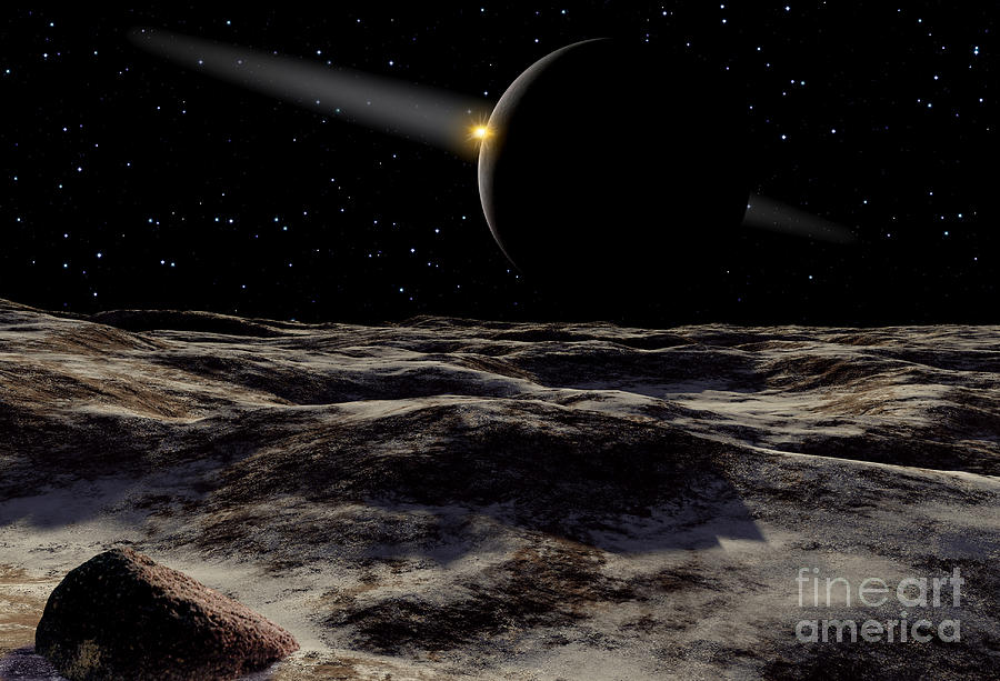 Color Image Digital Art - Pluto Seen From The Surface by Ron Miller