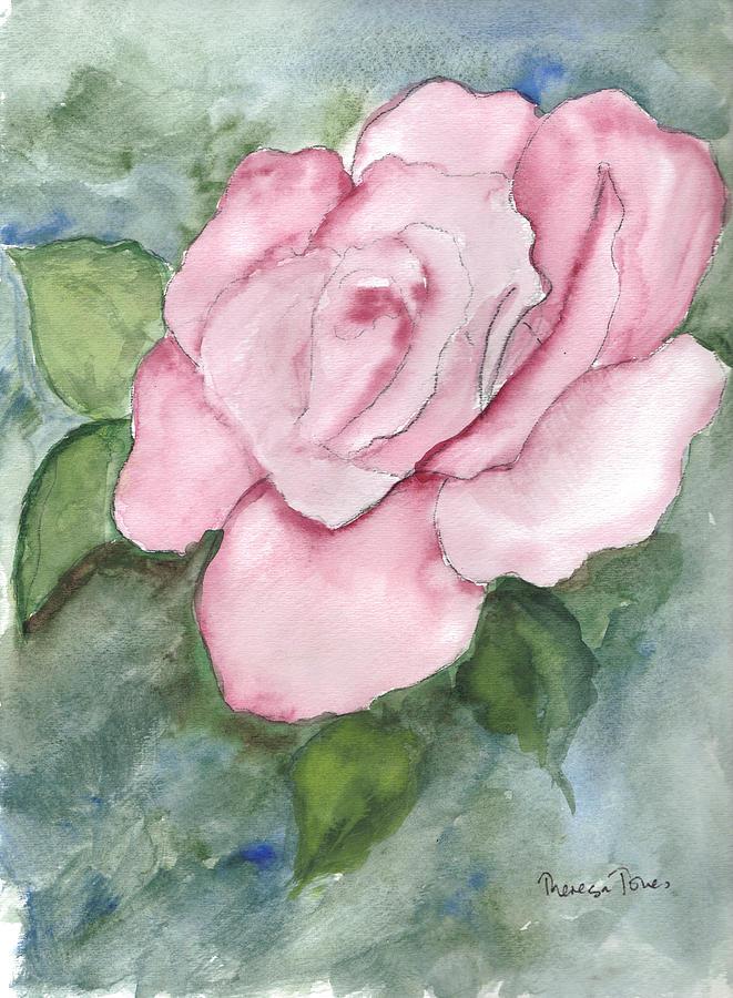 Pink Rose Painting - Pnk Rose by Theresa Jones
