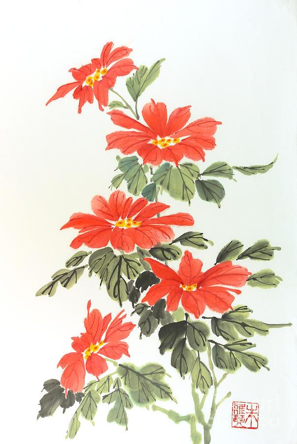 Red Flowers Painting - Poinsettias by Yolanda Koh