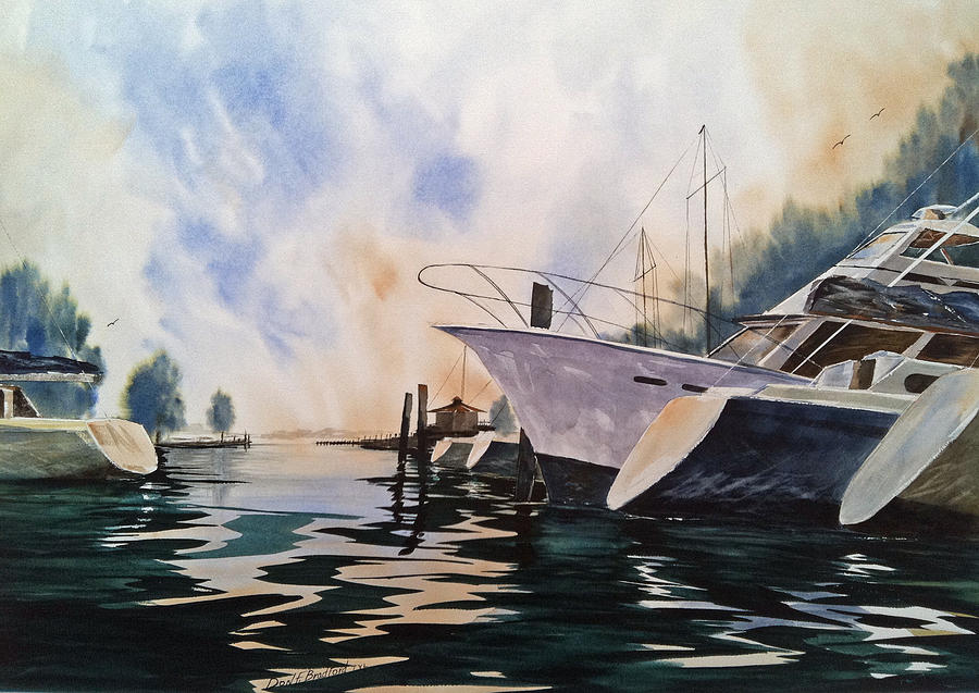 Harbor  Painting - Point Clear--after A Summer Rain--- Mobile Bay by Don F  Bradford