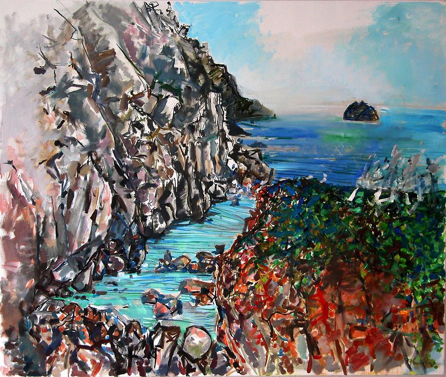 Seascape Painting - Point Lobos Whalers Cove by Zolita Sverdlove