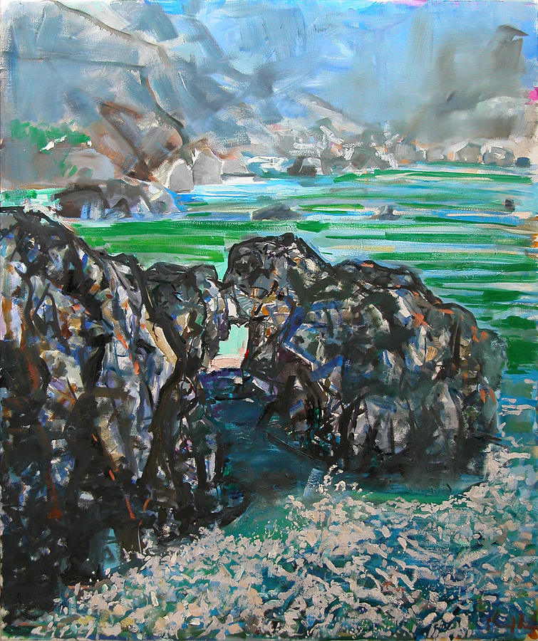 Seascape Painting - Point Lobos Window Rock by Zolita Sverdlove
