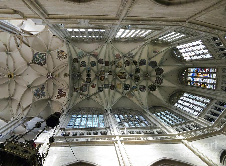 Vault Photograph - pointed vault of Saint Barbara church by Michal Boubin