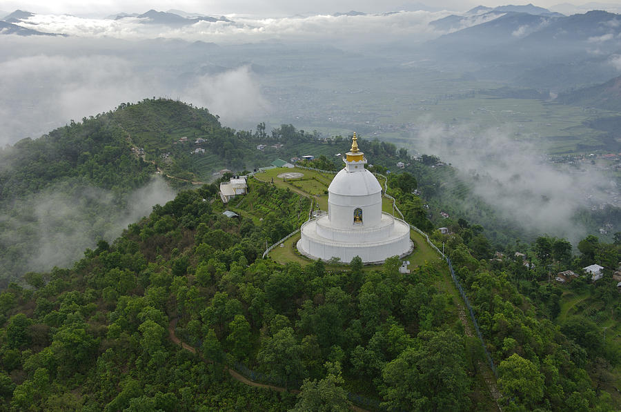Aerial View Photograph - Pokhara, Nepal, Asia- World Peace by Keenpress