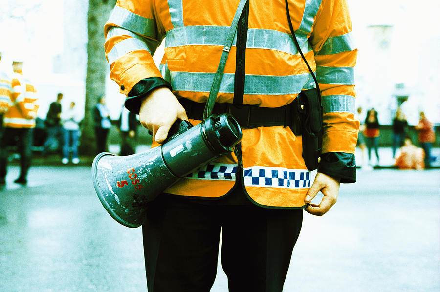 Megaphone Photograph - Police Officer by Kevin Curtis