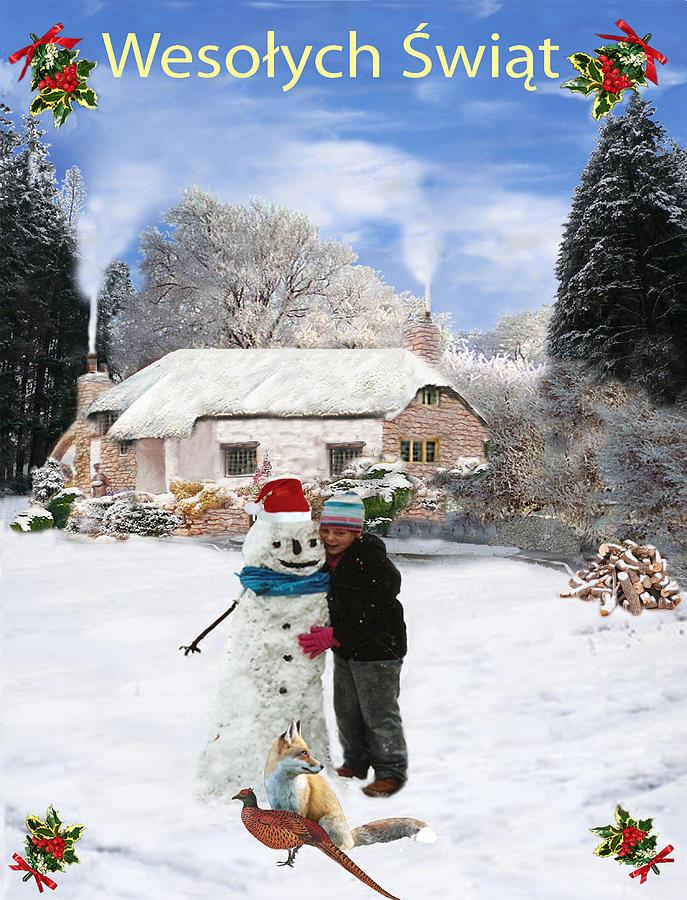 Polish Cottage Merry Christmas Mixed Media by Eric Kempson