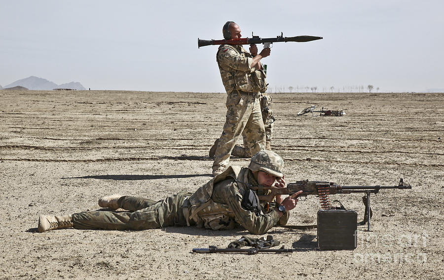 Afghanistan Photograph - Polish Soldiers Prepare To Fire by Stocktrek Images