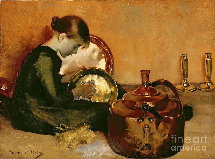 Kid Painting - Polishing Pans  by Marianne Stokes