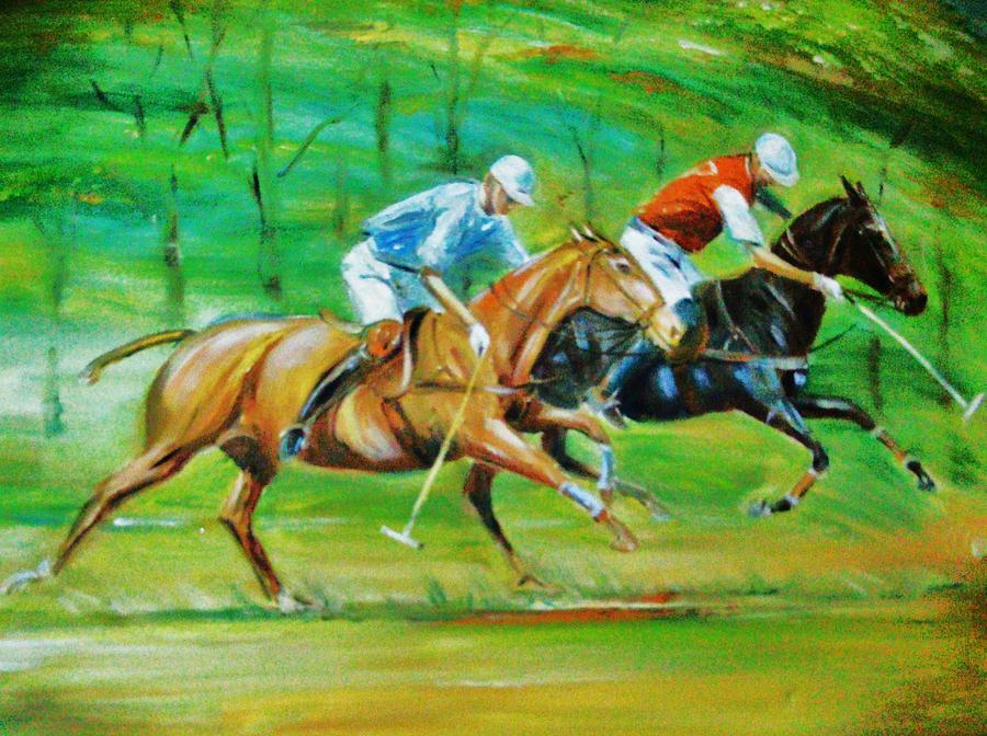Polo Painting - Polo Horses by Unique Consignment