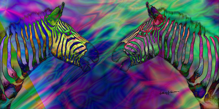 Imagination Digital Art - Polychromatic Zebras by Anthony Caruso