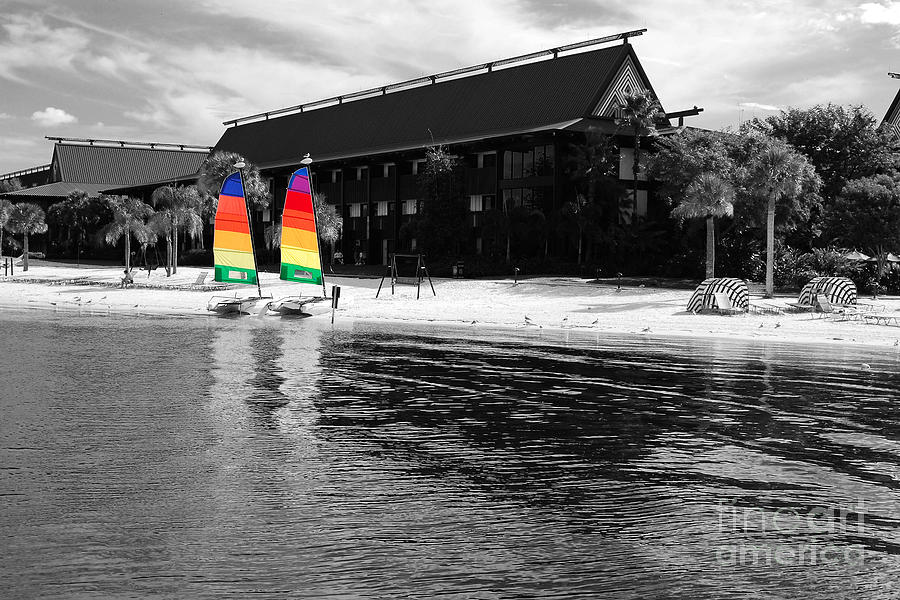 Polynesian resort photograph polynesian resort beach walt disney world prints color splash black and white