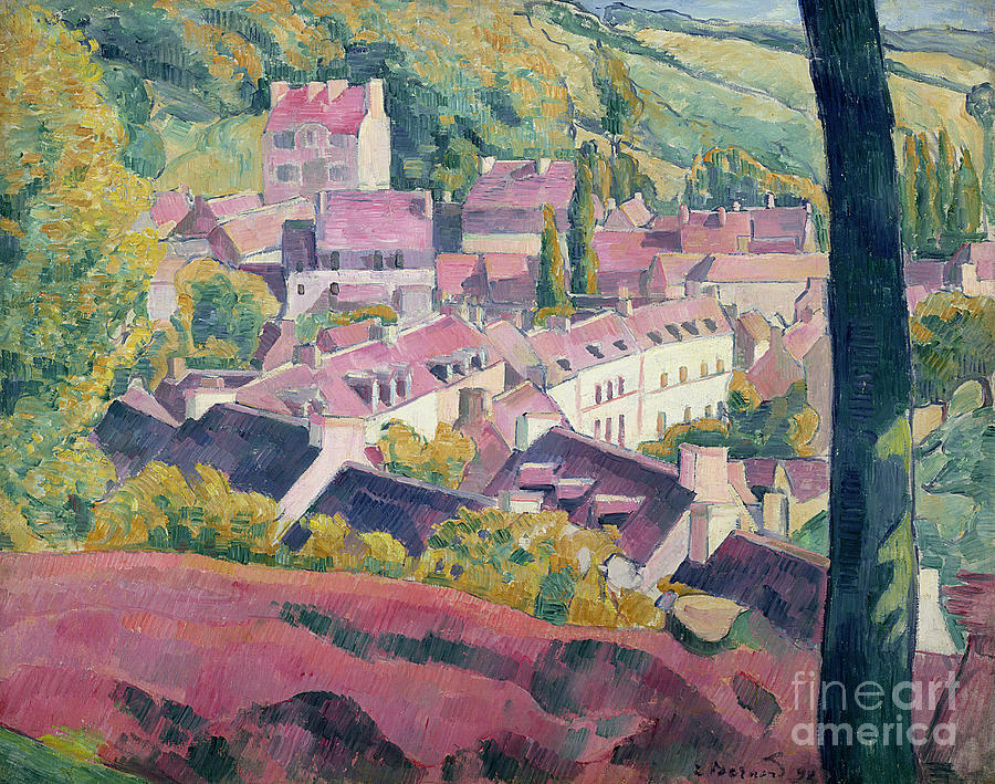 Town Painting - Pont Aven Seen From The Bois Damour by Emile Bernard