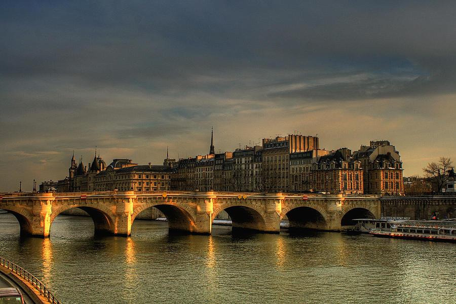 Horizontal Photograph - Pont Neuf  At Sunset, Paris, France by Avi Morag photography