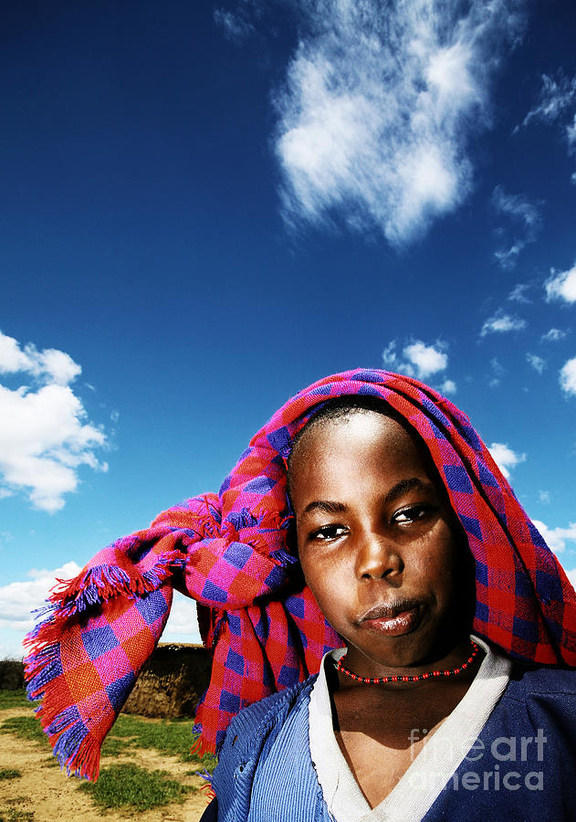Africa Photograph - Poor African Child Outdoor Portrait by Anna Om