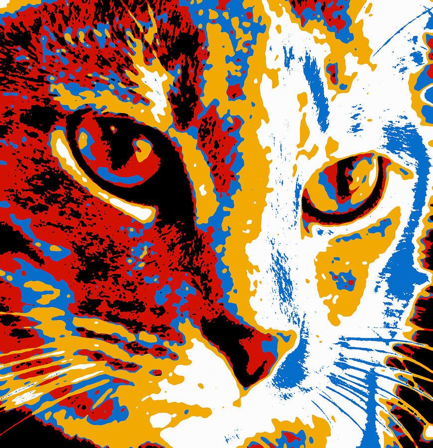 pop art cat photograph by david g paul