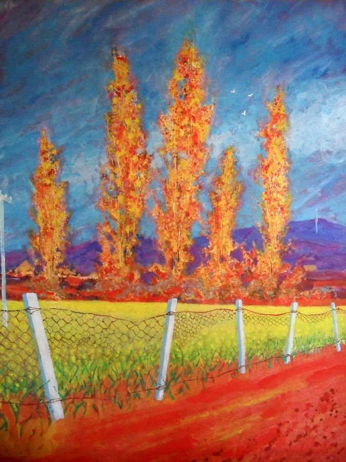 Poplars Painting - Poplars By The Yellow Field by Richard Tuvey