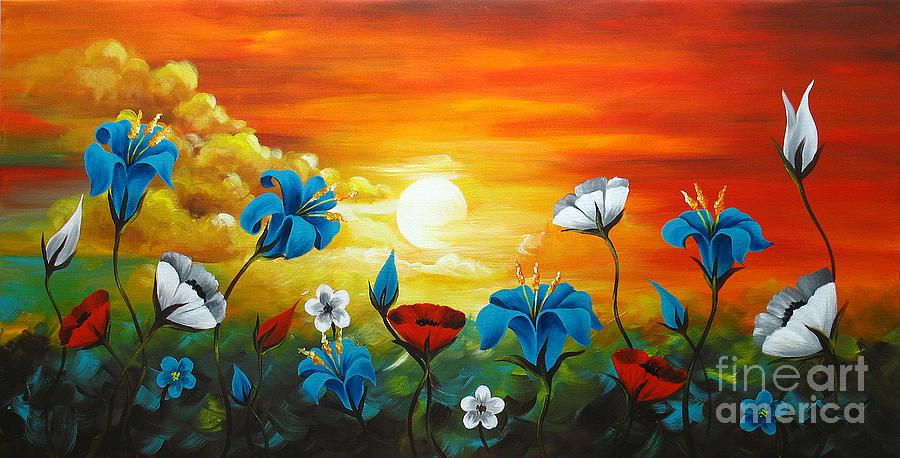 Poppies Paintings Painting - Poppies And Iris by Uma Devi