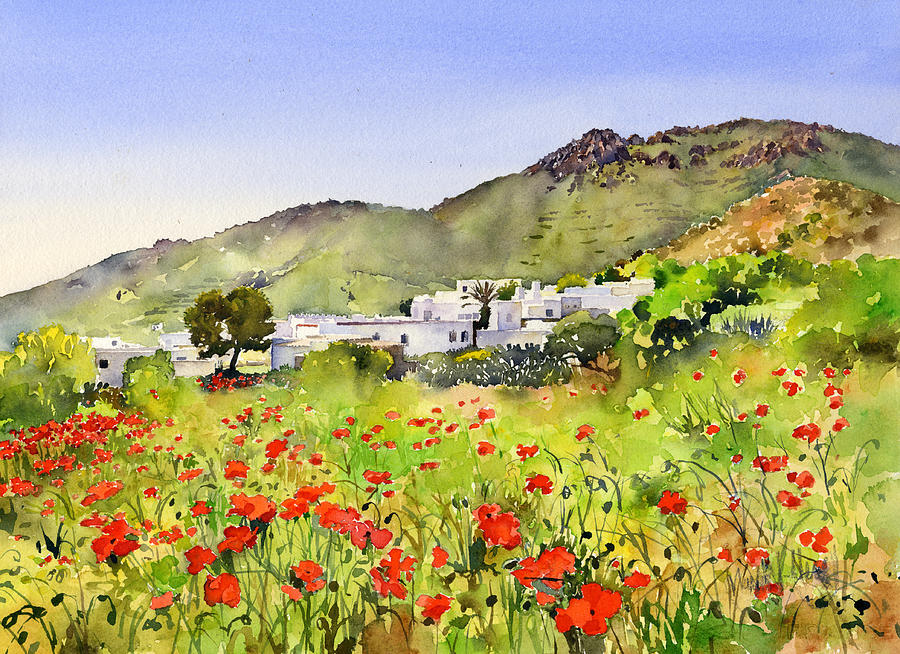 Landscape Painting - Poppies At Las Hortichuelas by Margaret Merry