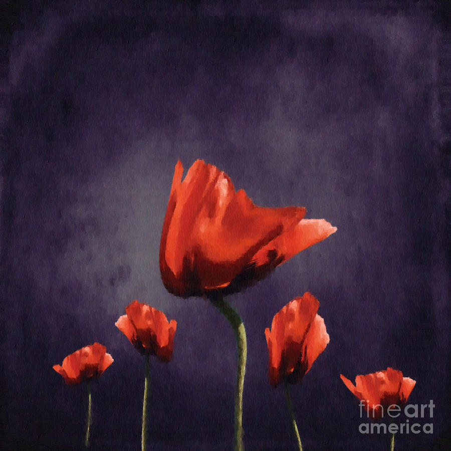 Poppies Digital Art - Poppies Fun 02b by Variance Collections