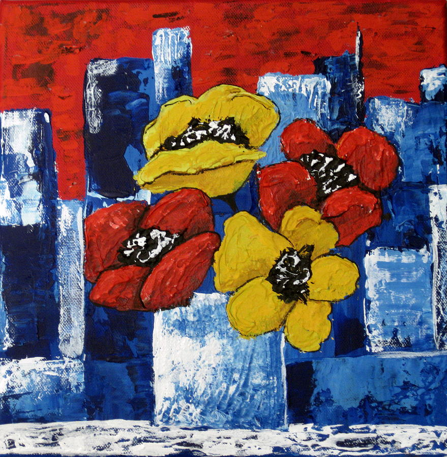 Poppies Overlooking The City Painting by Susan McLean Gray