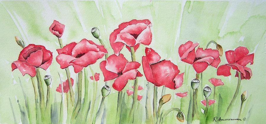 Poppies Painting - Poppy Field by Regina Ammerman