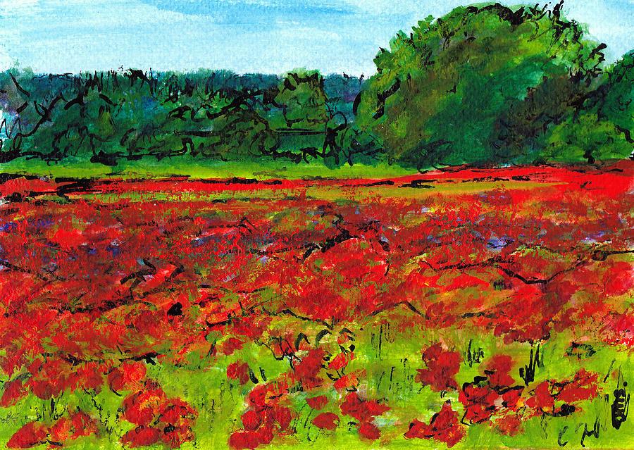 Italy Painting - Poppy Fields Tuscany by Jackie Sherwood