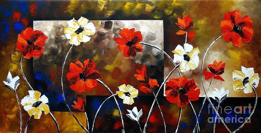 Bouquet Of Flowers Painting - Poppy Spectrum by Uma Devi