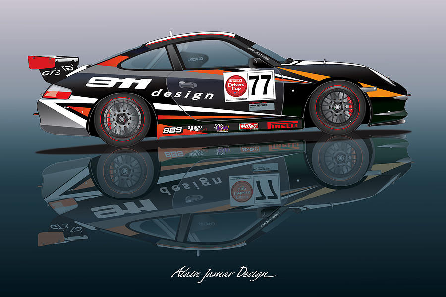 Race Track Wall Art >> Porsche 996 Cup Design Digital Art by Alain Jamar
