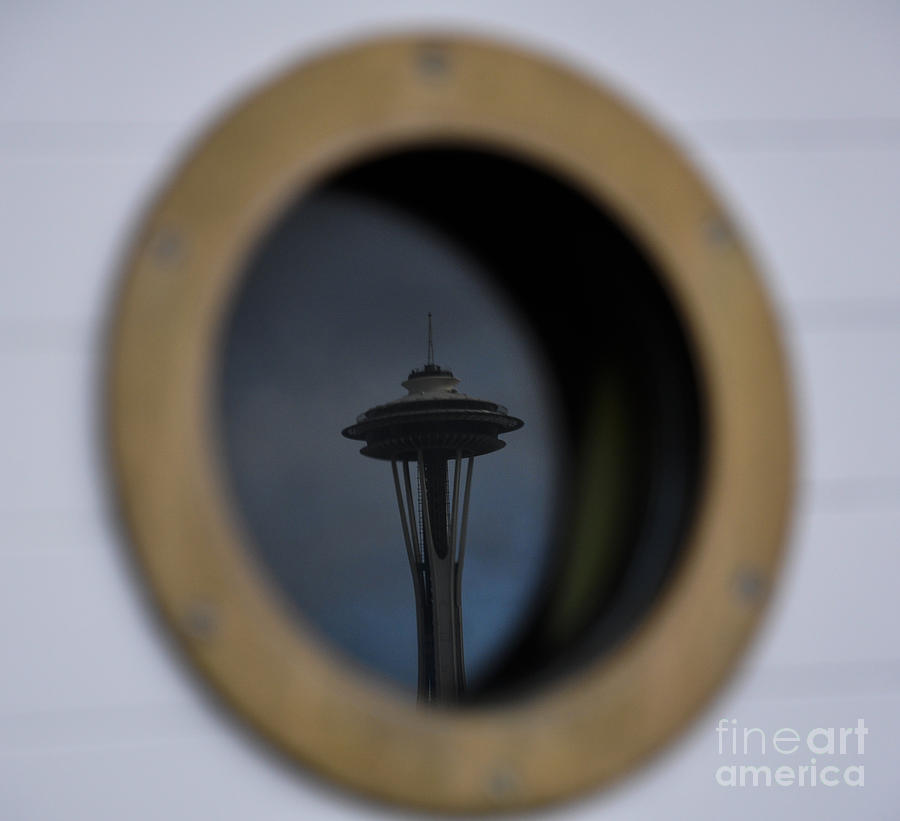 Space Needle Photograph - Port Hole Reflection Of The Space Needle by Camille Lyver