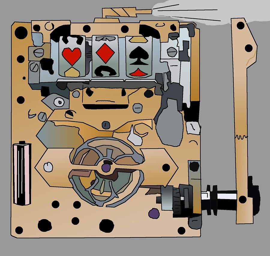 Steampunk Drawing - Portable Steampunk Slot Machine by Casino Artist