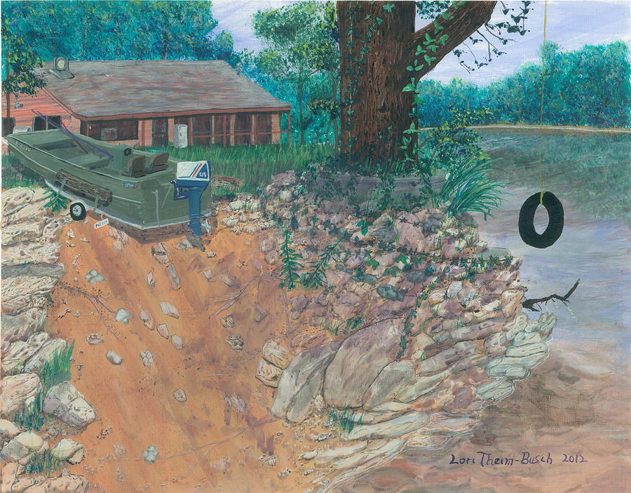 Portage Pictures Painting - Portage River Cabin by Lori  Theim-Busch