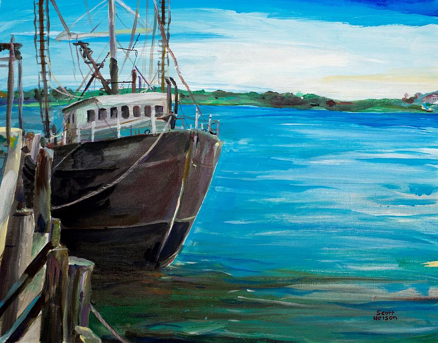 Fishing Boat Painting - Portland Harbor - Home Again by Scott Nelson