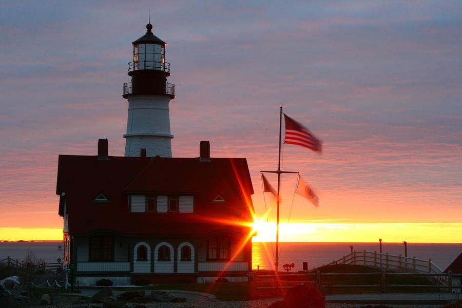 Lighthouse Photograph - Portland Head Light At Sunrise by Rick  Blood