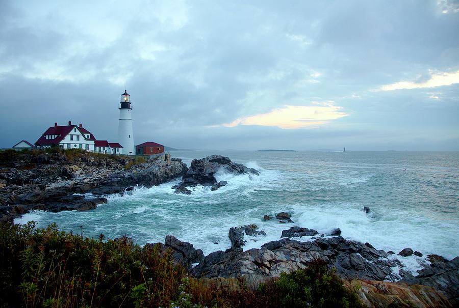 Horizontal Photograph - Portland Head Lighthouse At Sunrise by Thomas Northcut
