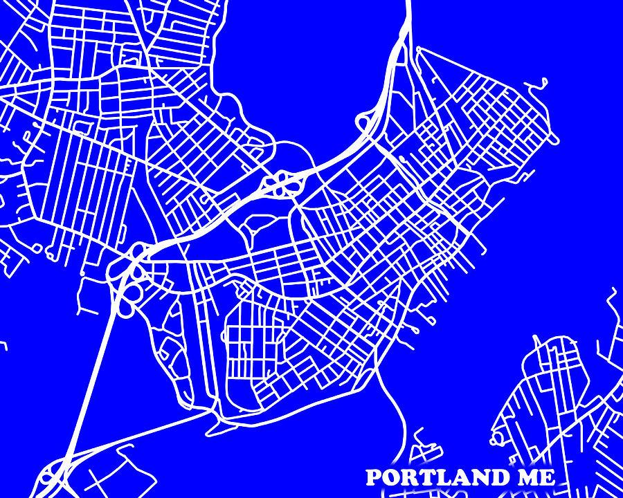 portland me street map Portland Maine City Map Streets Art Print Photograph By Keith portland me street map