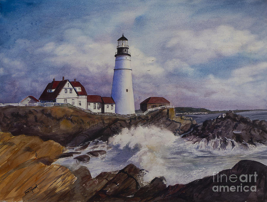 portland maine lighthouse painting by toni roark