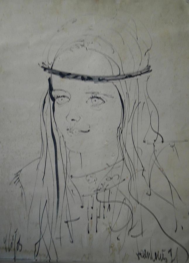 Colette Drawing - Portrait 1971 Colette by Colette V Hera  Guggenheim