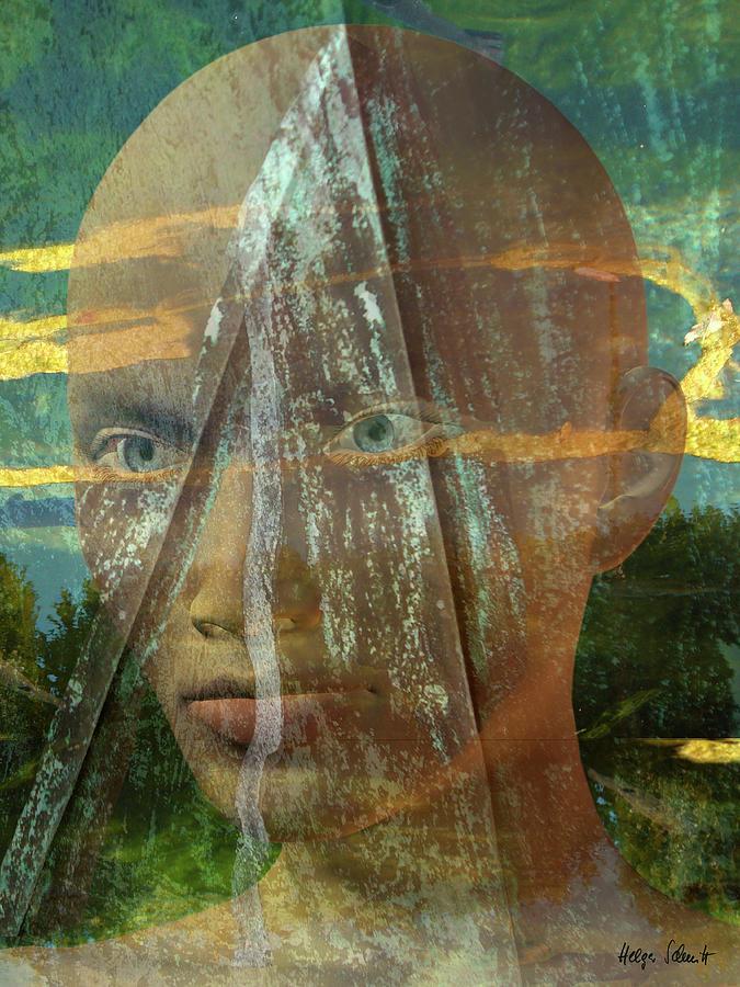 Surreal Digital Art - Portrait In The Fields by Helga Schmitt