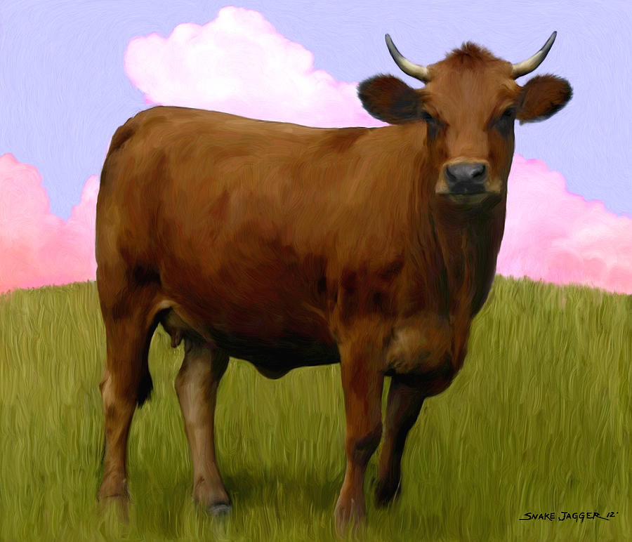 Cow Painting - Portrait Of A Cow by Snake Jagger