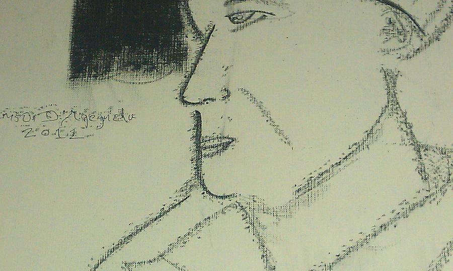 Man Pastel - Portrait Of A Shopkeeper Bust by Samson Agegnehu