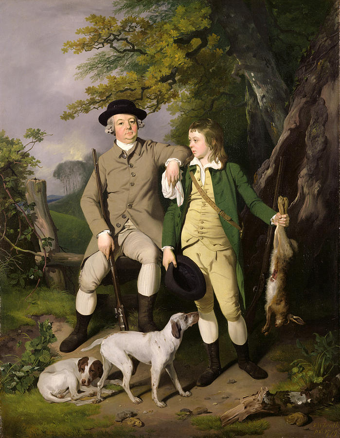 Portrait Painting - Portrait Of A Sportsman With His Son by Francis Wheatley