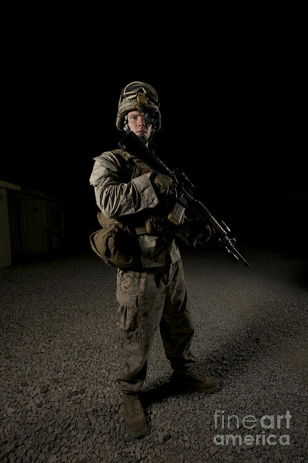 Operation Enduring Freedom Photograph - Portrait Of A U.s. Marine by Terry Moore