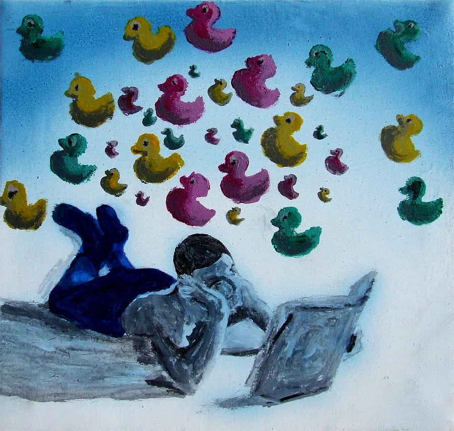 Portrait Painting - Portrait Of Boy Reading Large Book While Laying On Floor And Fantasizing About Ducks Floating Kids by M Zimmerman MendyZ