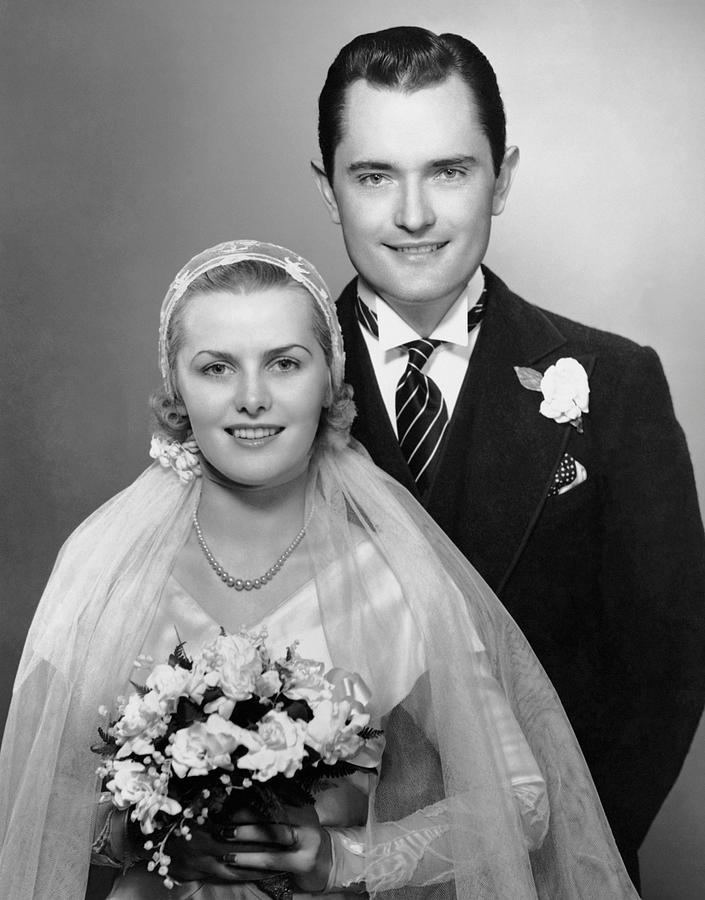 Adult Photograph - Portrait Of Bride & Groom by George Marks