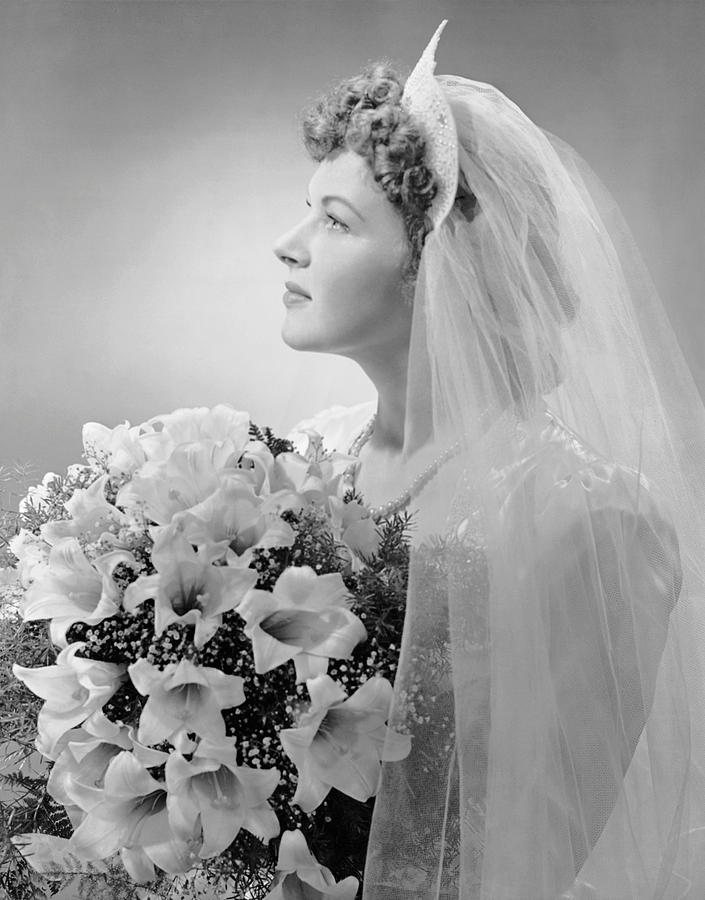 Adult Photograph - Portrait Of Bride by George Marks