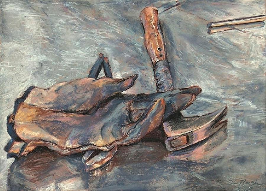 Work Glove Pastel - Portrait Of Brother Mel Meyer by Deanna Nash
