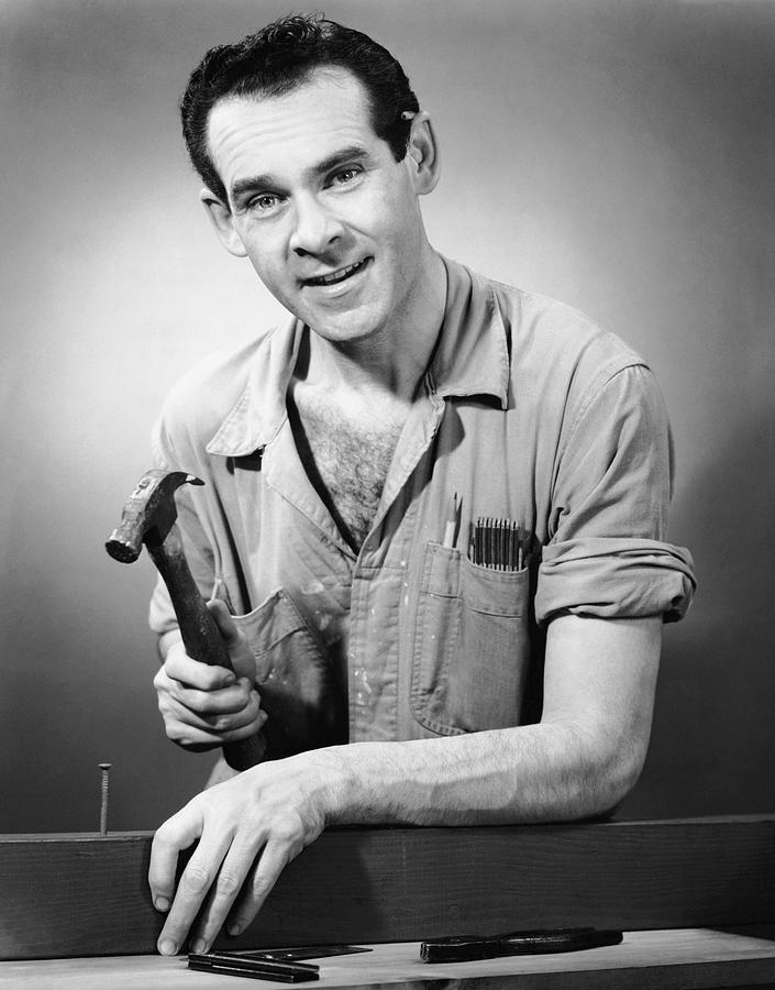 Adult Photograph - Portrait Of Carpenter by George Marks