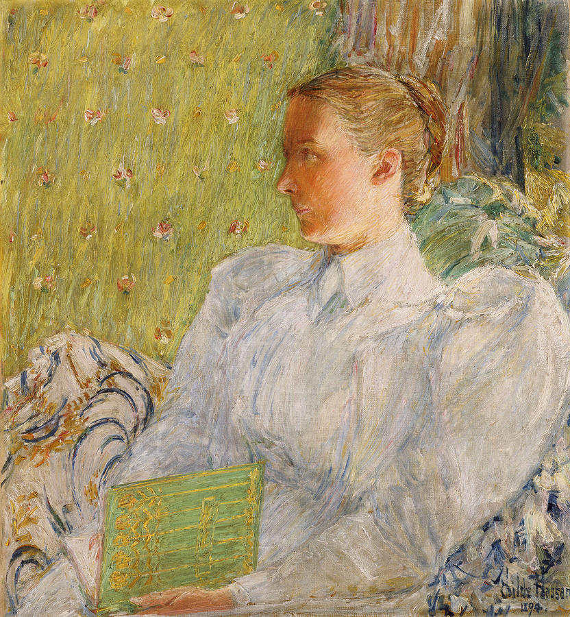 Lap Painting - Portrait Of Edith Blaney by Childe Hassam