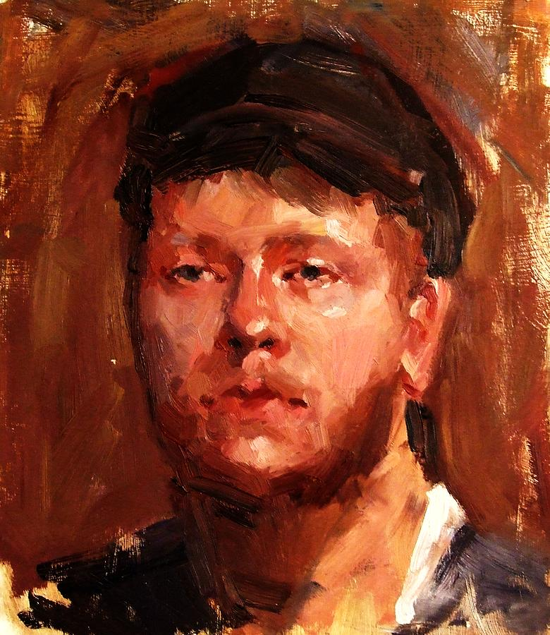 Portrait Painting - Portrait Of Irish Fisherman With Weary Sad Eyes And Hard Work Face Deep Lines And Lost Souls Cap by M Zimmerman MendyZ