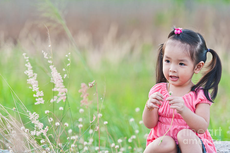 Adorable Photograph Portrait Of Little Asian Girl By Sattapapan Tratong